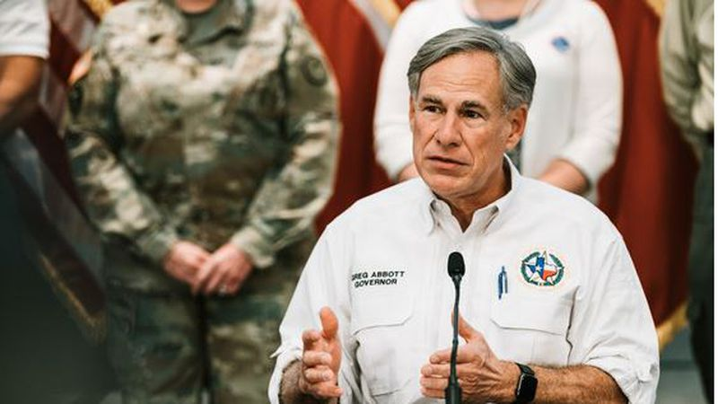 Gov. Gregg Abbott speaks during a press conference about Hurricane Laura that was held on...