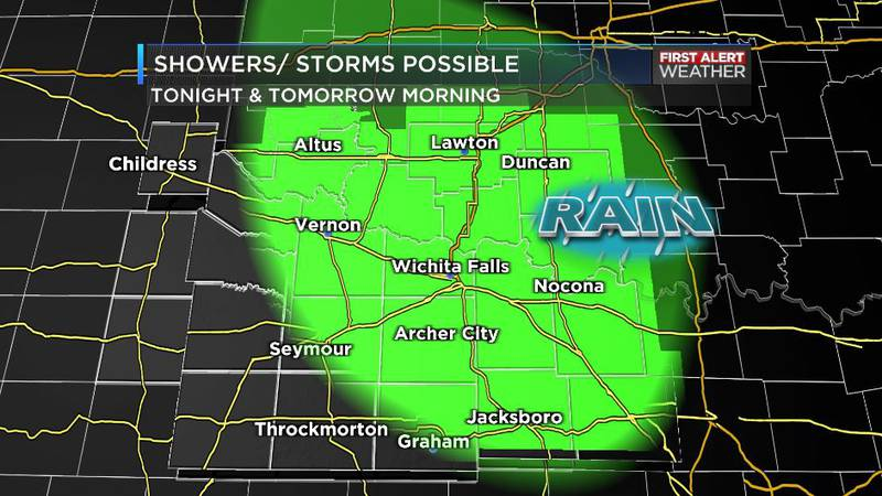Storms possible tonight, tomorrow morning