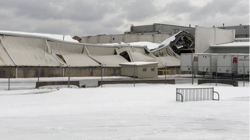 A portion of a building at Trane in Tyler has collapsed due to snow accumulation.