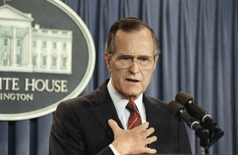 Pres. George H. W. Bush, appearing at a news conference at the White House, tells reporters...