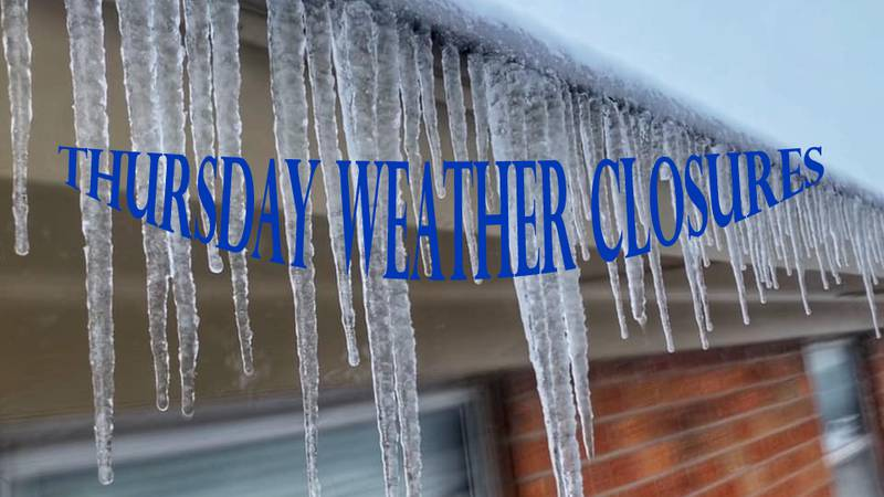 Here's a list of all the Thursday weather-related closures in Texoma.
