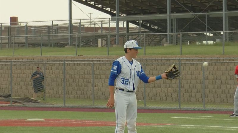 Windthorst's Gavin Steinberger after striking out a better in the 2019 playoffs.