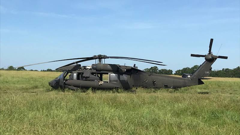 Members of the Arkansas National Guard made a quick landing Thursday night in a Troup...