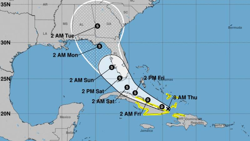 This image shows the forecasted path of Tropical Depression Fred as of Thursday morning.