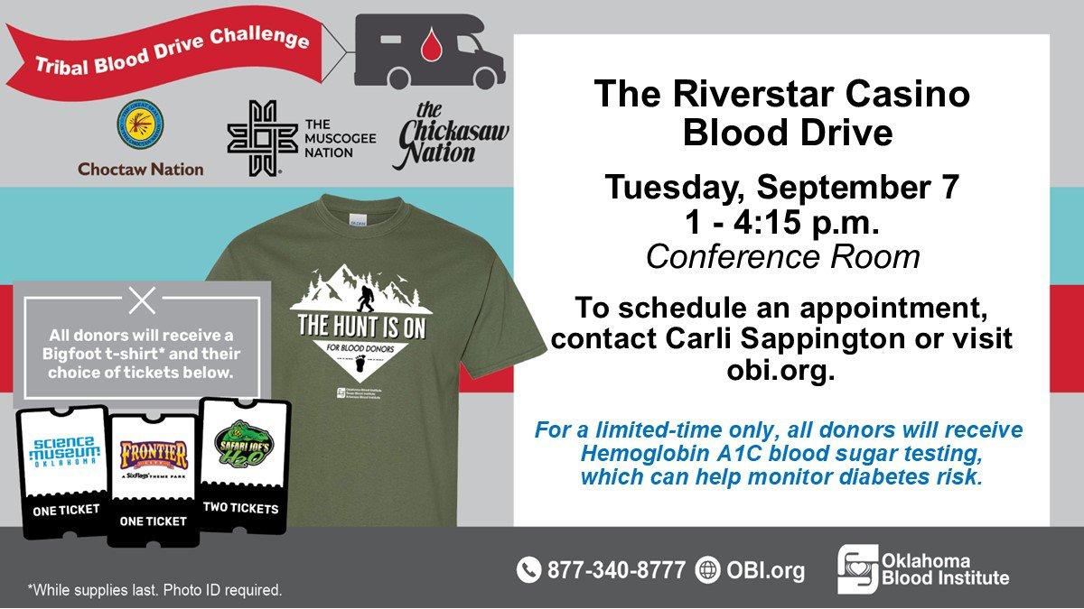 Riverstar Casino will host a blood drive on Sept. 7