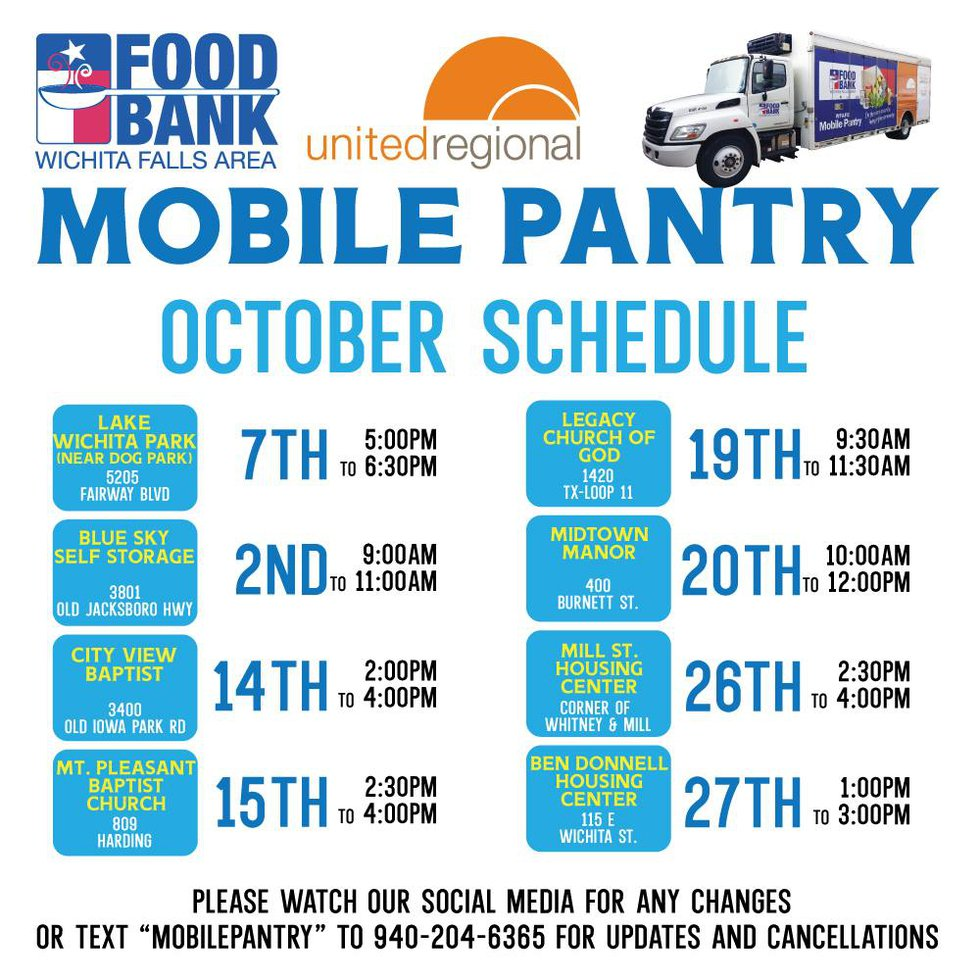 WFAFB Mobile Pantry making stops throughout October