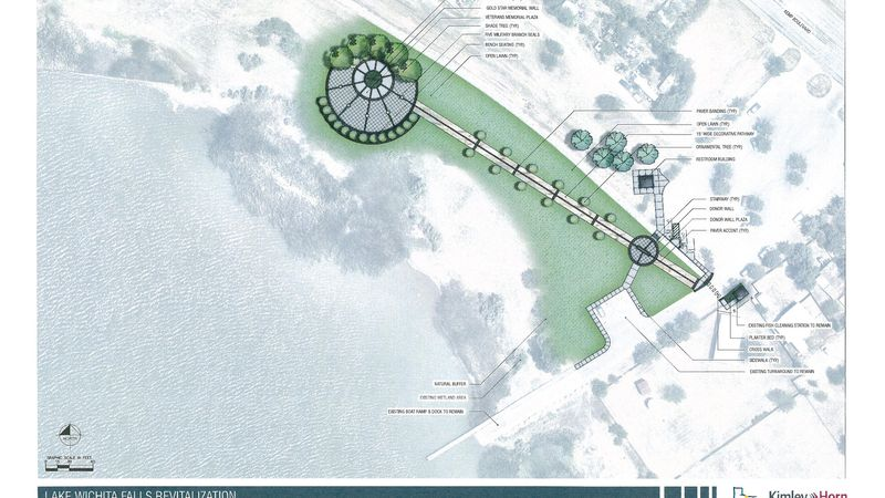 The most recent rendering for the veterans plaza.