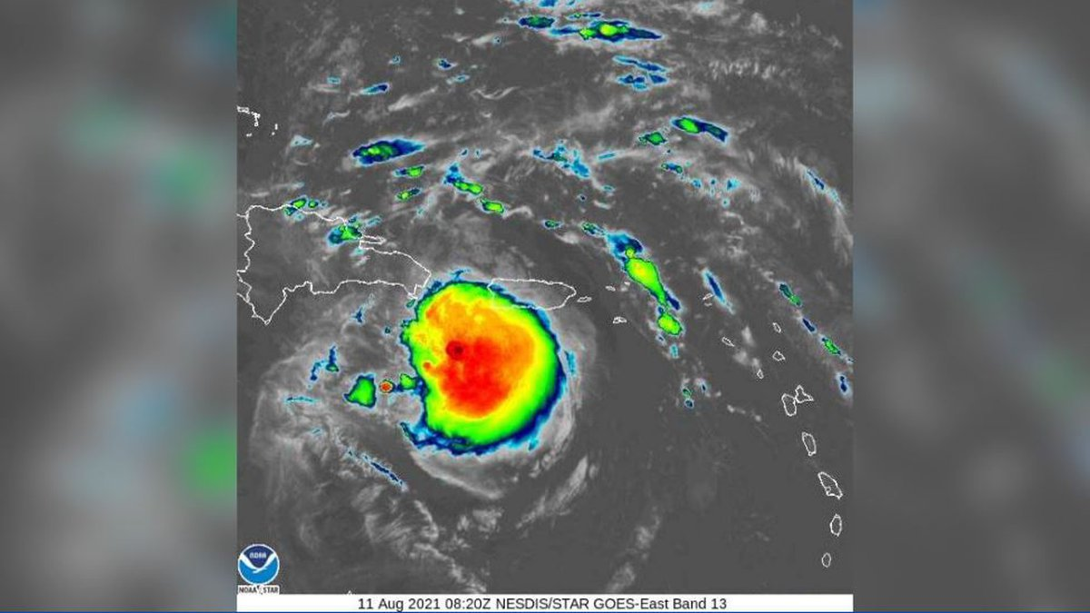This image shows Tropical Storm Fred swirling just south of Puerto Rico.