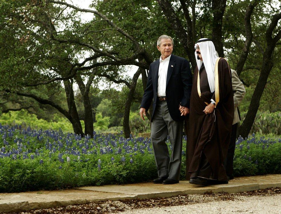 President Bush greets Saudi Crown Prince Abdullah at his ranch in Crawford, Texas Monday, April...