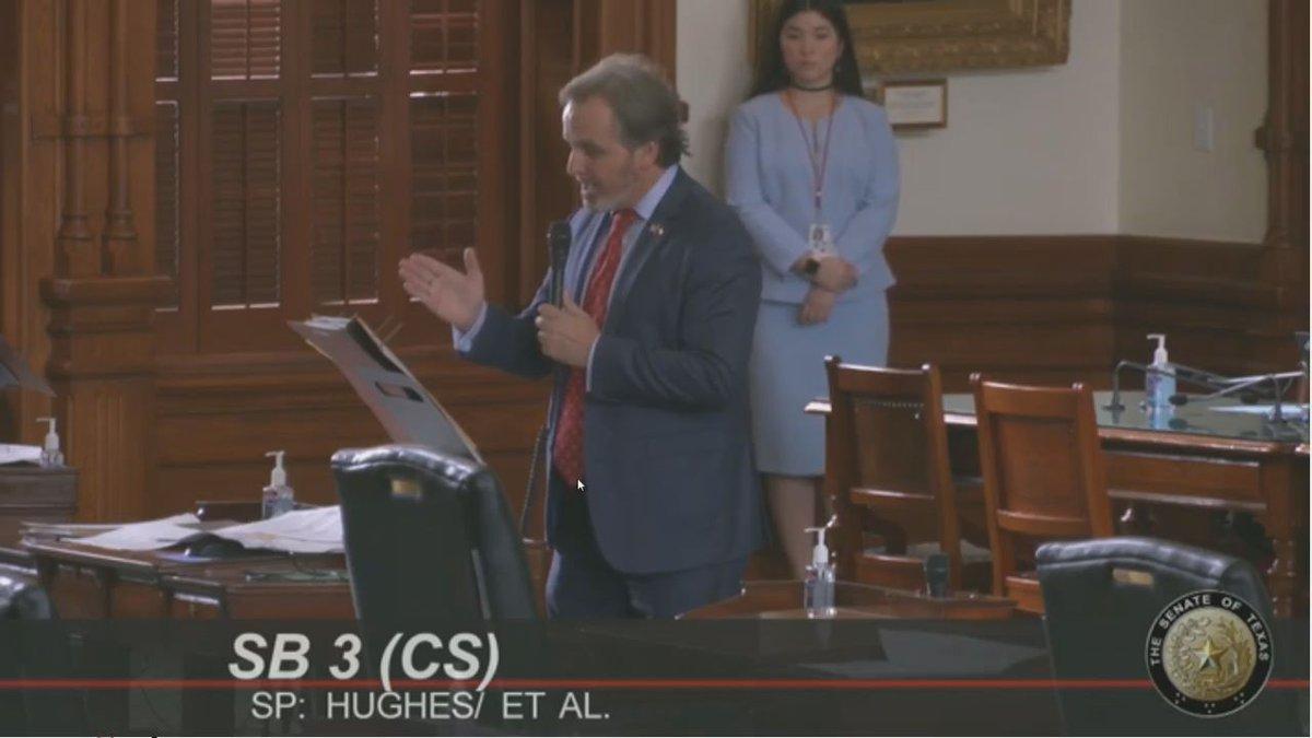 Sen. Bryan Hughes presents SB 3 to the Texas Senate.