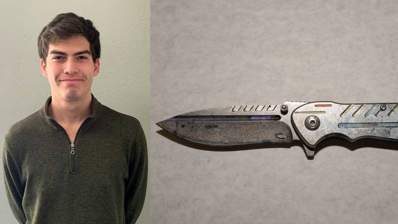 Pictured here is the knife believed to be used to murder Nikolas Eugenio Martinez (left). ...