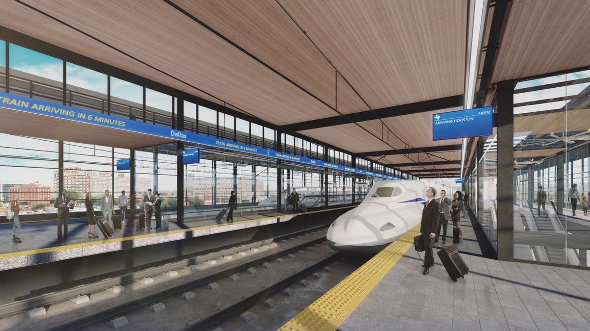 A conceptual rendering of what the high-speed rail station in Dallas could look like. Image...