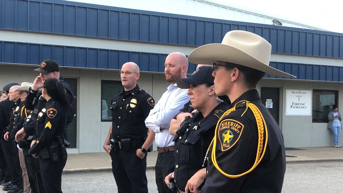 A crowd gathered in preparation to receive Sgt. Josh Bartlett with the Lubbock County Sheriff's...
