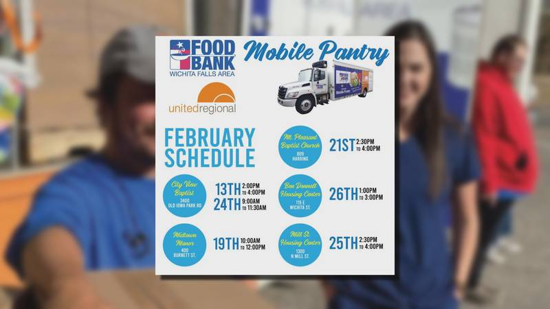 The Wichita Falls Area Food Bank's Mobile Pantry has released a schedule for their February...