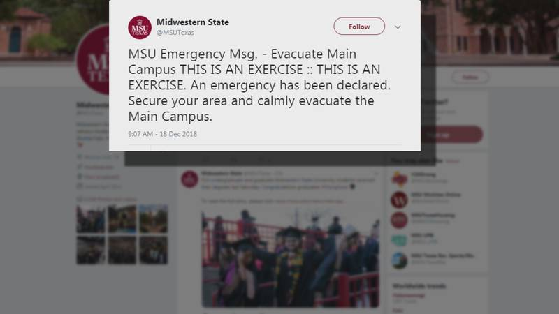 Midwestern State University Campus Police tested its emergency evacuation plan with a drill on...