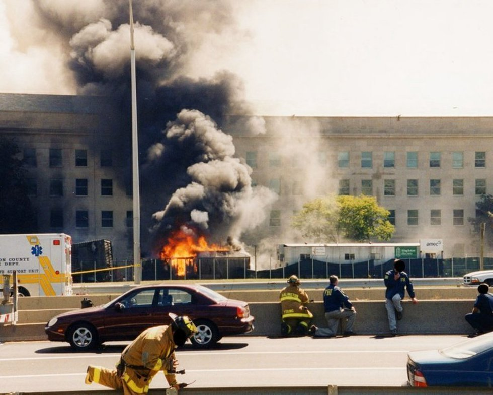 This undated photo provided by the FBI shows damage to the Pentagon caused during the 9/11...