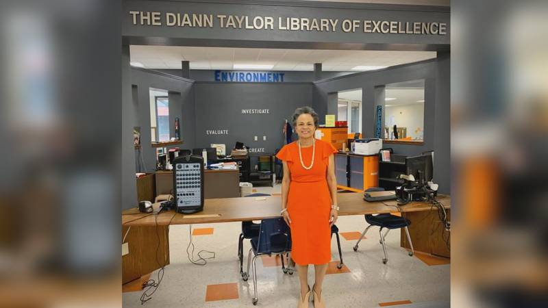 Kirby Middle School's library was officially dedicated to former principal Diann Taylor on...