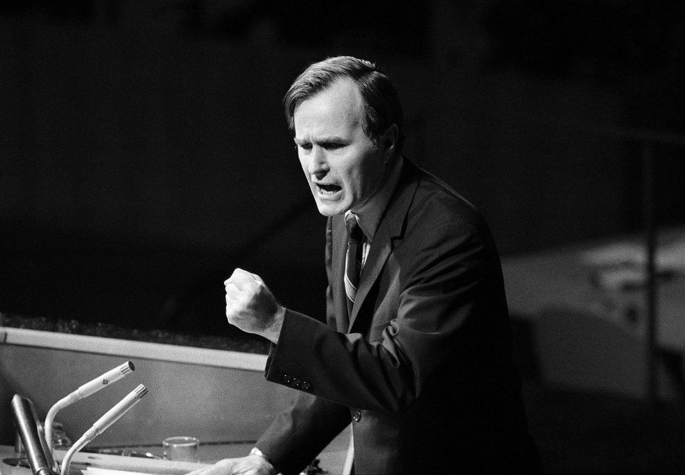 In this Oct. 18, 1971, photo, U.S. Ambassador George H.W. Bush gestures as he addresses the...