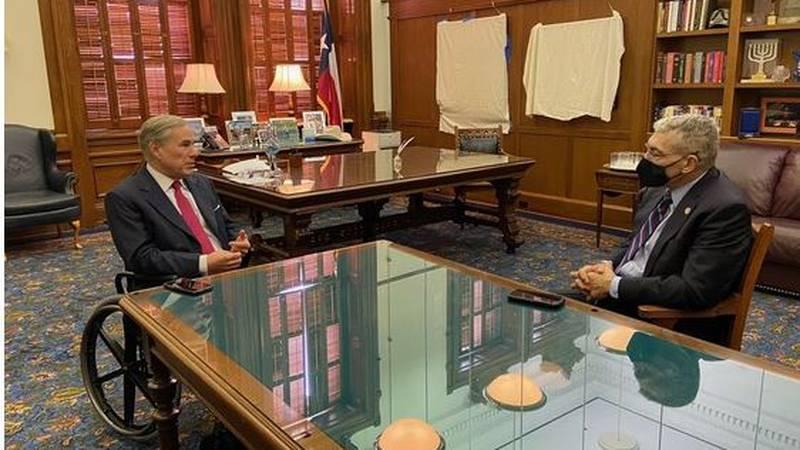 Gov. Greg Abbott met with Col. Steve McCraw, the director of Texas' Department of Public...
