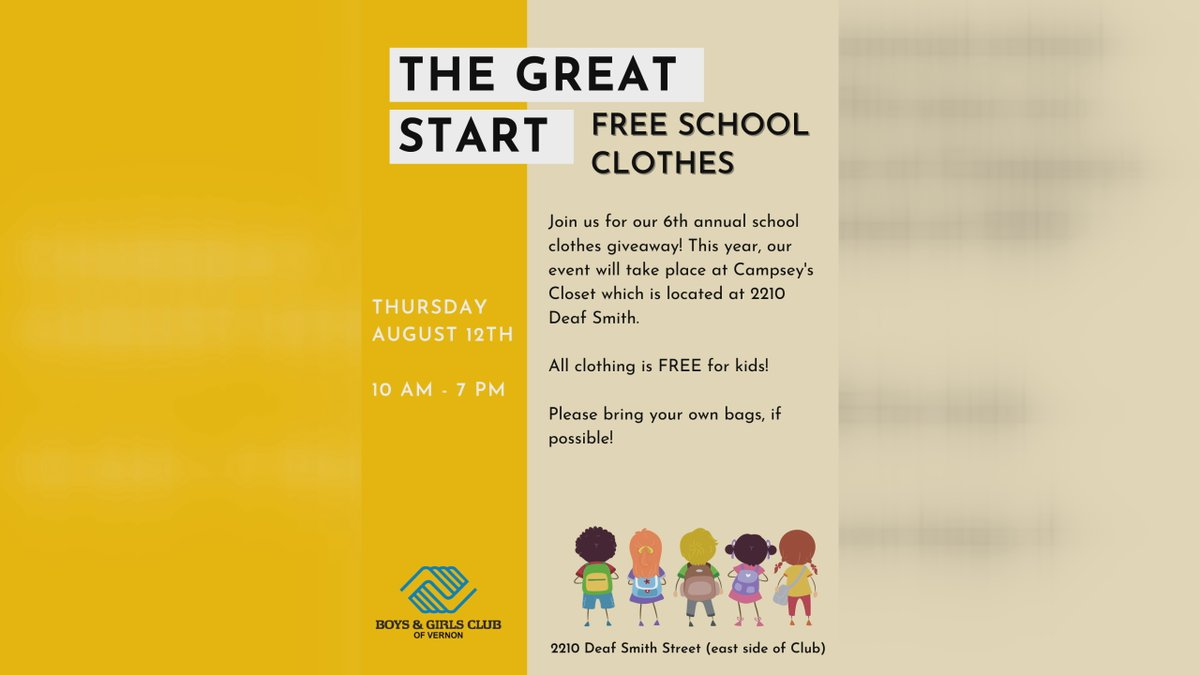On August 12, the Boys and Girls Club of Vernon will host its sixth annual School Clothes...