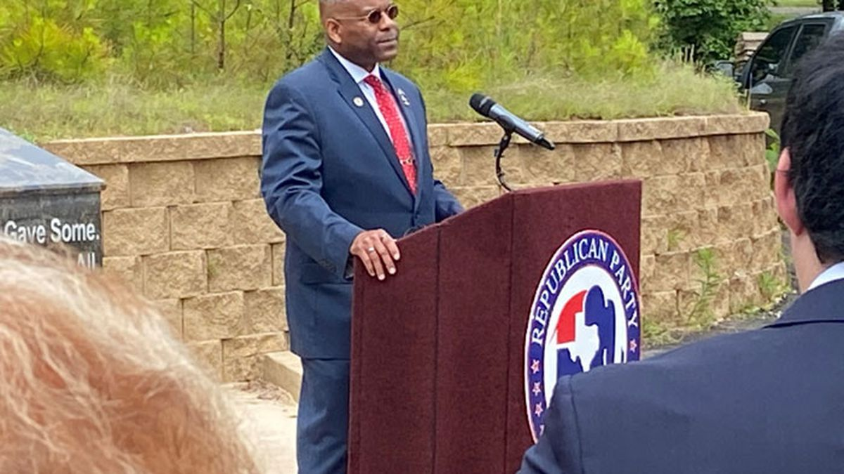 Lt. Col. Allen West, the outgoing chairman of the Republican Party of Texas, speaks at a press...