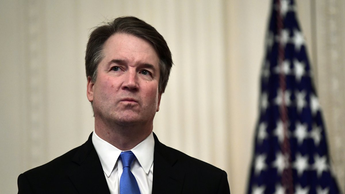 FILE - In this Oct. 8, 2018, file photo, Supreme Court Justice Brett Kavanaugh stands before a...
