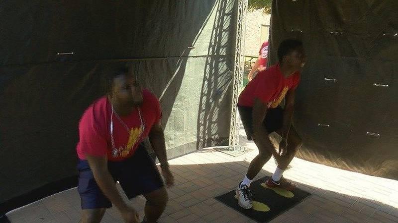 MSU students play drunk interactive dodgeball put on by TxDOT. (Source: KAUZ)