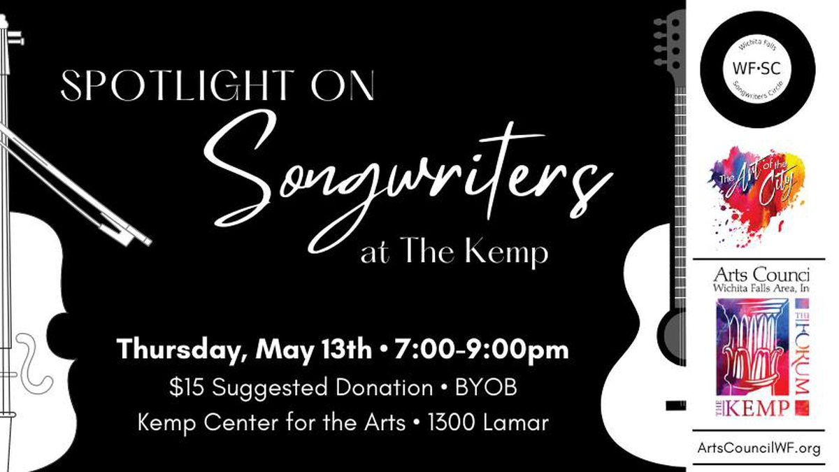 The Spotlight on Songwriters event is set for 7 p.m. Thursday at the Kemp Center for the Arts.