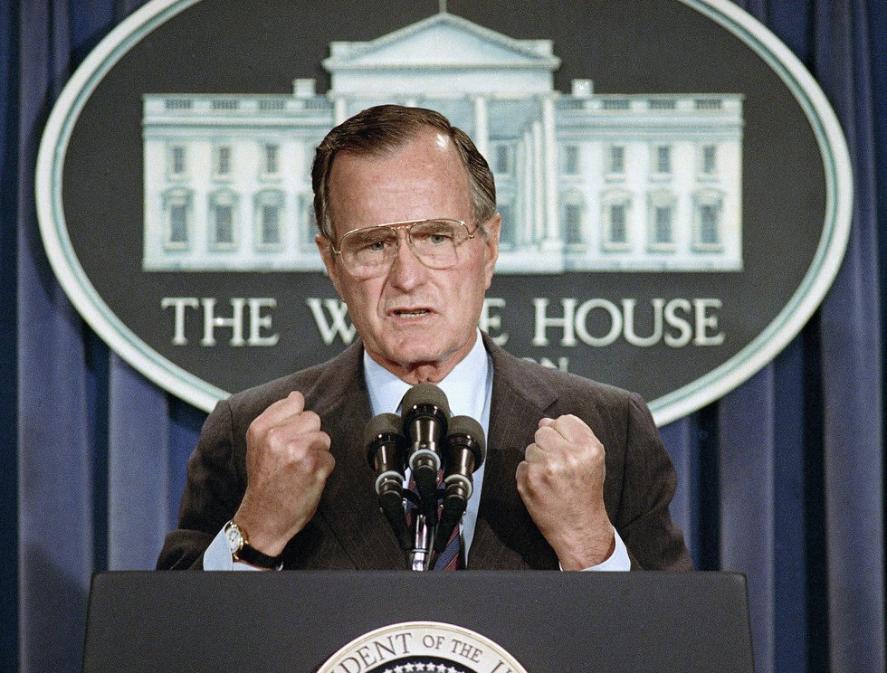 In this June 5, 1989, photo, U.S. President George H.W. Bush holds a news conference at the...
