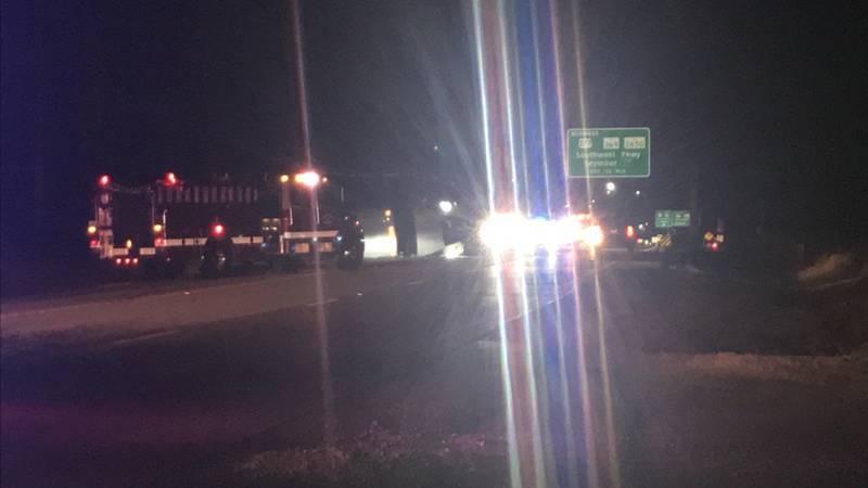 A semi truck overturned outside Wichita Falls early Monday morning