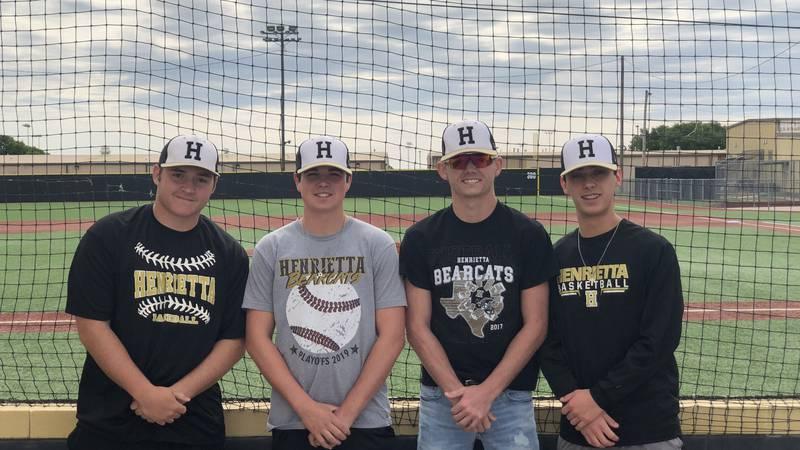 The four seniors of the Henrietta baseball team.