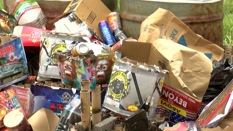 Hippie Beach was covered with remains of fireworks when crew members arrived Monday morning.