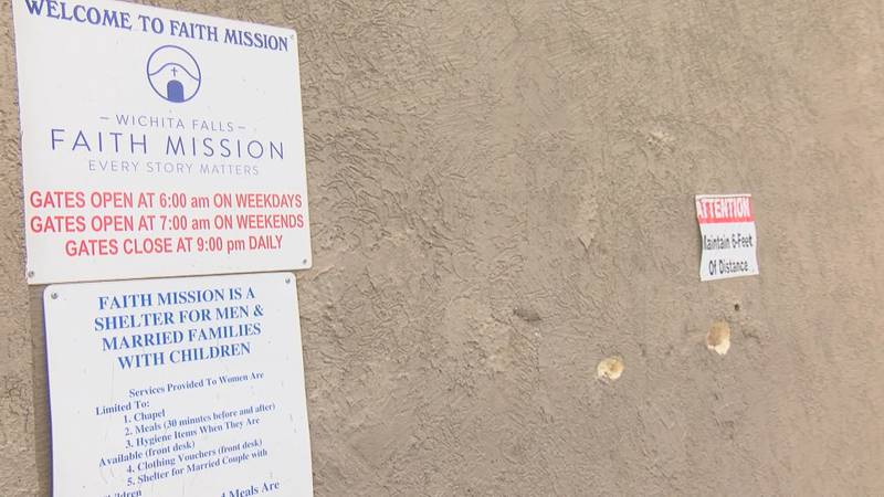 The Wichita Falls Faith Mission posted signs and warnings about social distancing  while they...