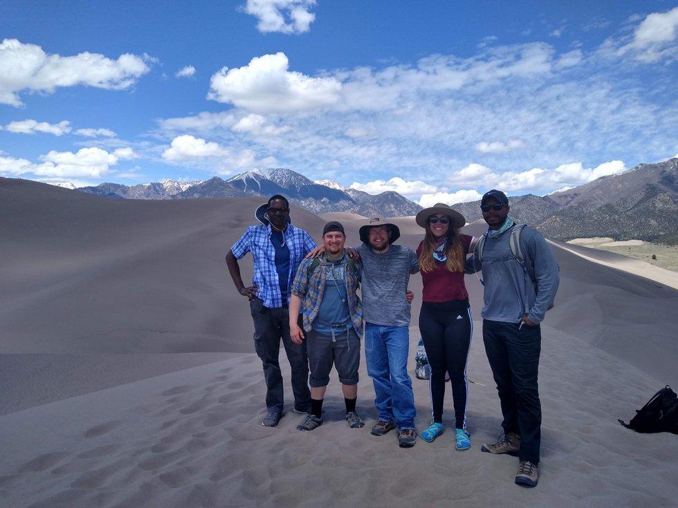 Andrew Katumwehe with MSU Texas graduate students Lorenzo Carranza, Evin Parker, Hannah Ghotbi...