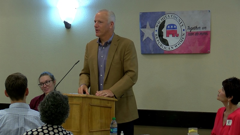 Rep. James Frank speaks at Monday's Wichita County Republican Women meeting.