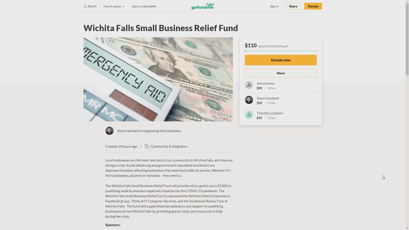 The fund has started raising money, and the organizer hopes businesses and people who are still...