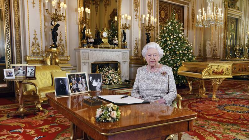 In this image released on Tuesday, Dec. 25, 2018, Britain's Queen Elizabeth poses for a...
