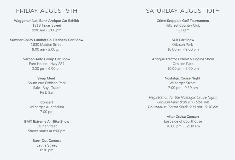 The Summer's Last Blast schedule via the SLB website.