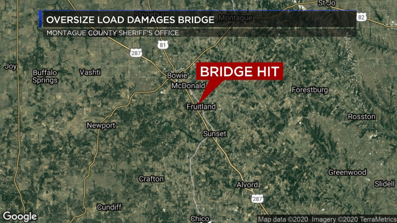 Fruitland Bridge in Montague County was hit by an oversized load semi-truck heading Southbound...