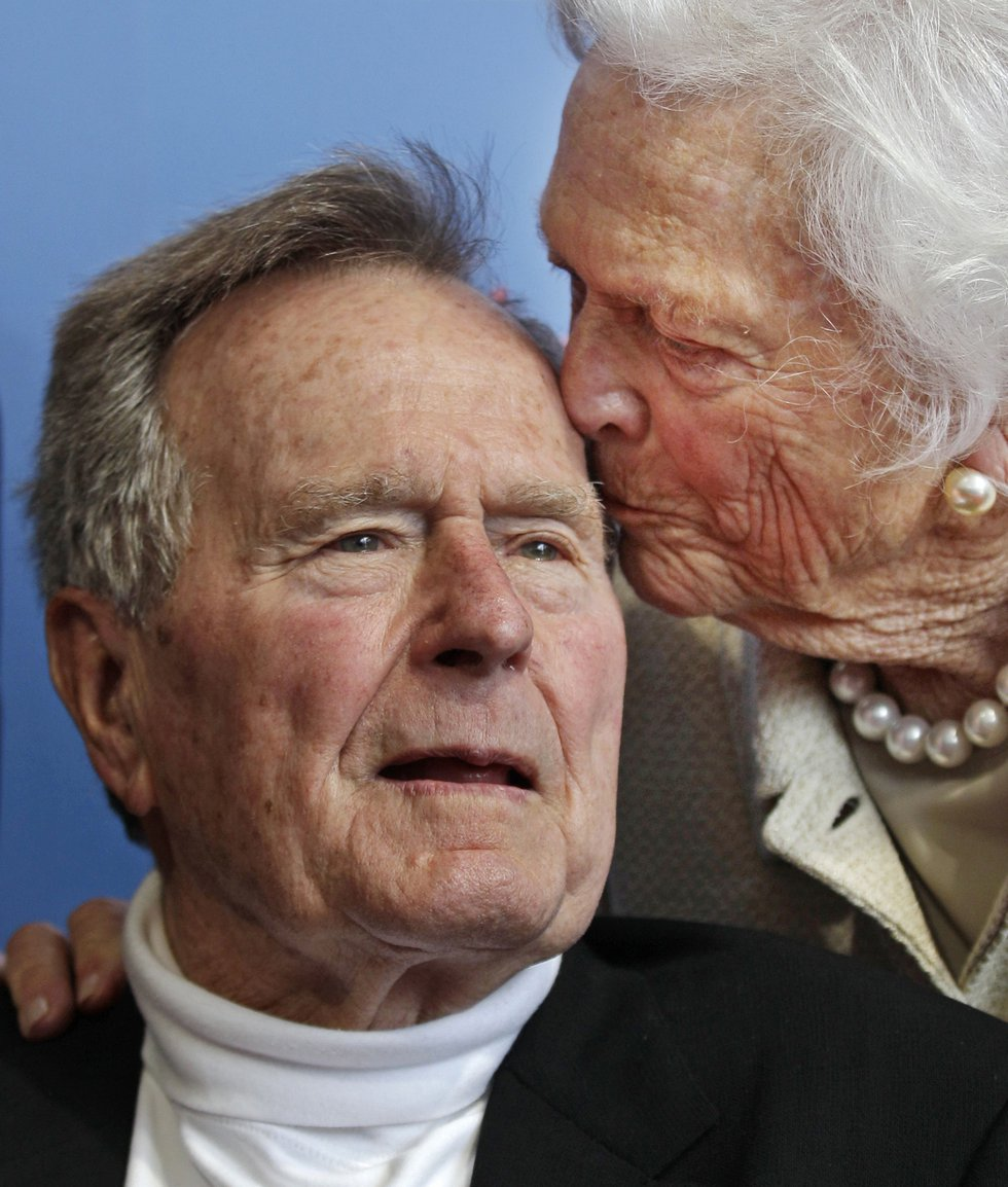 FILE - In this June 12, 2012 file photo, former President George H.W. Bush, and his wife,...