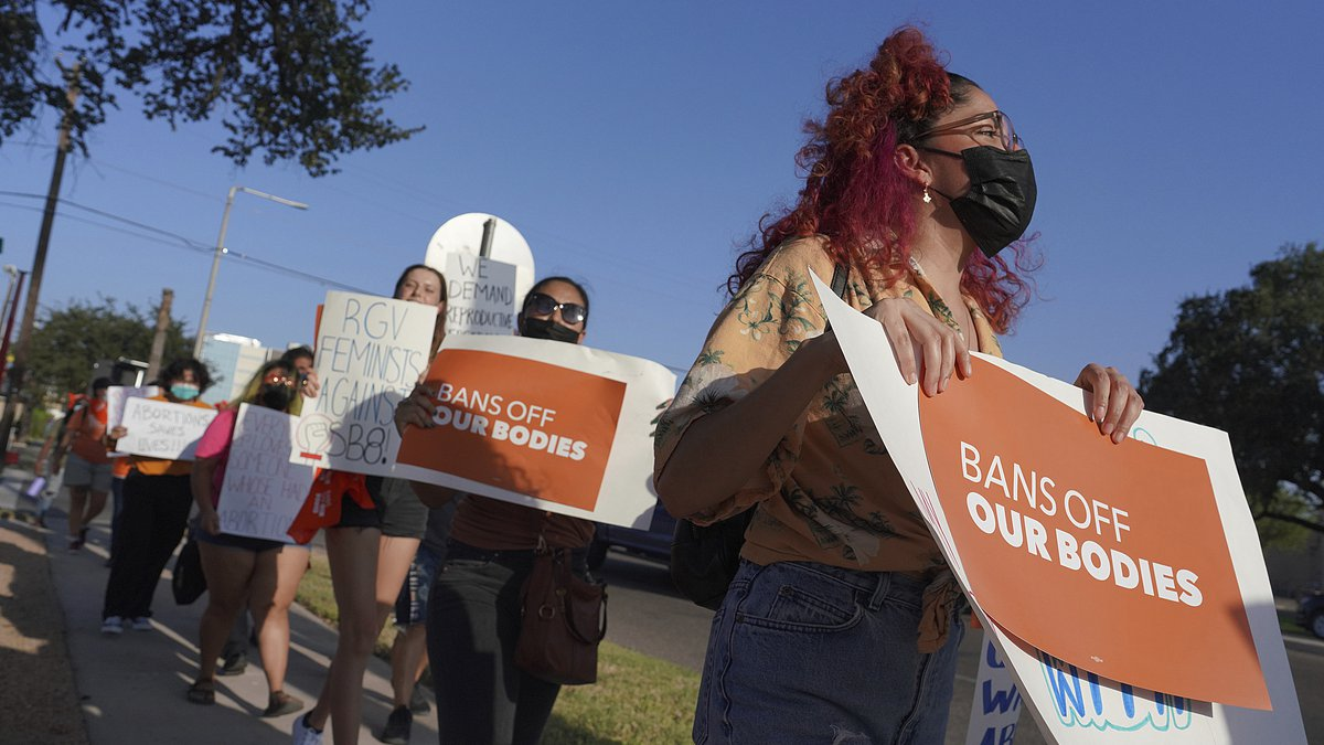 FILE - Abortion rights supporters gather to protest Texas SB 8 in front of Edinburg City Hall...